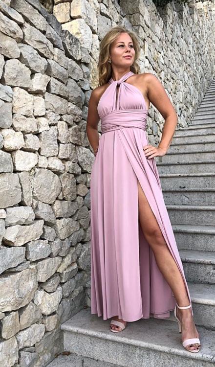 różowa długa sukienka angel na wesele dla świadkowej